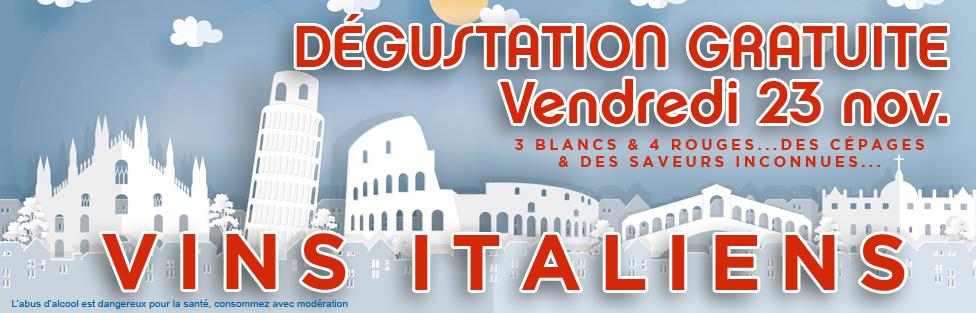 Dégustation de vins italiens